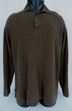 Tommy Bahama Silk Cotton Blend Polo Shirt Men's Med Brown Long Sleeved 4 Button #TommyBahama #PoloRugby