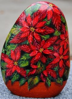 Pebble Painting, Pebble Art, Stone Painting, Diy Painting, Stone Crafts, Rock Crafts, Rock Flowers, Christmas Rock, Rock And Pebbles