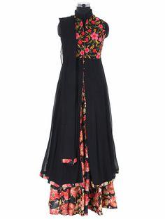 Black Georgette Ready Made Party Wear Lehenga Cum Salwar Suit