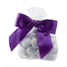Candy Favor Bags with Purple Ribbon - Personalized M&M'S®️ Chocolate Wedding Favor Packs - Create custom wedding favors that complement your unique wedding style.