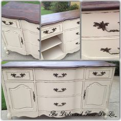 Beautiful buffet that I refinished in General Finishes Linen milk paint. The top was stained with Java Gel stain and sealed.