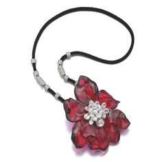 """Cartier """"Orchid"""" carved rubellite and diamond pendant, 2011"""