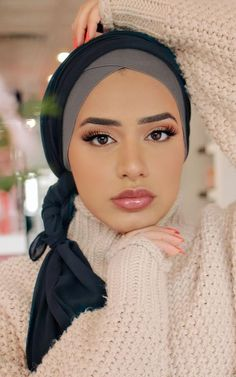 Our Cross Front under scarves feature an ultra soft tube silhouette in a premium Cotton blend, with a Cross Cut banded trim. Hijab Turban Style, Mode Turban, Modern Hijab Fashion, Muslim Fashion, Photo Hijab, Moda Hijab, Scarf Styles, Hair Styles, Hijab Styles