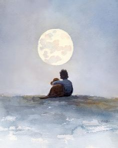 """A Boy and His Dog Friend Art Print of Watercolor Painting - Child, Childhood, Friend, Friendship, Moon, Boy's Room. Friendship - a Boy and his dog friend Archival reproduction of my original watercolor Image area: 8"""" x 10"""" , 12"""" x 15"""" and 16"""" x 20"""" (Portrait orientation) Archival print printed with Epson Ultra Chrome pigment inks on Hahnemuhle Fine Art paper. The print looks very much like an original watercolor painting. Prints will come signed by me. ▼8x10 prints are packed in a clear..."""