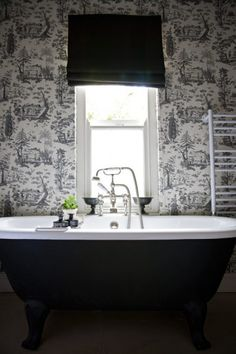 SallyL: John Jacob Interiors - Painted black iron clawfoot tub. Black and white chinoiserie ...