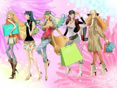 fashion illustration candy colors, candies, backgrounds, art, necklaces, blog, octopuses, fashion illustrations, style fashion