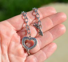 Stainless Steel Charm Bracelet with Heart  and Angle Toggle Clasp C816 by LorettasBeads on Etsy