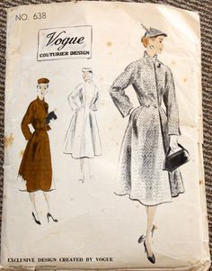 Vogue Couturier Design 638 Full-length Fitted Coat. (1951) Waist-line seam at sides only. High built-up neck line. Double-breasted buttoning or hook at waist-line. Long sleeves cut in one with front and side back sections. Novelty belt optional. via vintage patterns
