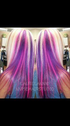 2 visitors have checked in at NV Me Hair Studio. Under Hair Color, Hot Hair Colors, Hair Color Purple, Blonde Hair With Highlights, Hair Streaks, Pelo Multicolor, Peekaboo Hair, Best Hair Dye, Beautiful Long Hair
