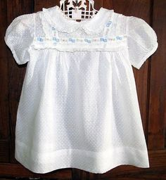 Vintage Baby White Dotted Swiss Embroidered Ribbon & Lace Trimmed Dress