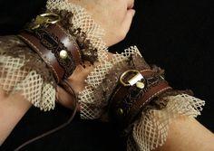 Steampunk Slave Cuffs in Brass, Brown Leather, Lace & Fishnet Bracelets -costume or bedroom, Pirate, ren faire, discrete BDSM bondage fetish
