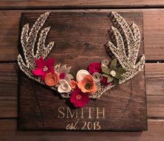 Deer String Art, Wall Art, Rustic Home Decor, Flower Crown Deer Antler Sign, FAST SHIPPING, Deer Sign, Felt Flowers, Boho Rustic Decor,