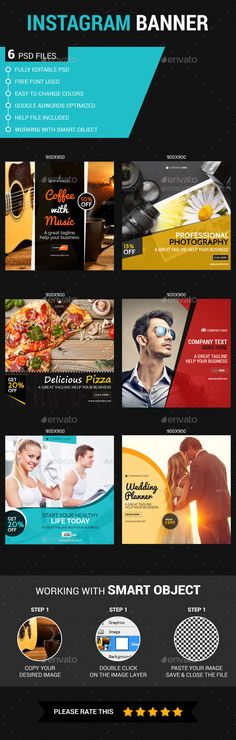 """Promote your Products and services in Instagram with this banner set. This is a Multipurpose Instagram web Templates which is fully editable. Pack included: 6 PSD Files. 72 dpi. RGB Color Mode Easy Photo Replacement. PSD organised in layers """"named"""" Sizes: 900×900 The package also contains a help file Fonts Required: Design 01 - Pacifico https://www.google.com/fonts/specimen/Pacifico Raleway https://www.google.com/fonts/specimen/Raleway Design 02 - Roboto https://www.google.com/fonts/sp..."""