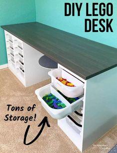 Lego Table With Storage, Storage Bins, Storage Spaces, Storage For Legos, Diy Lego Table, Lego Building Table, Diy Storage Desk, Kids Craft Storage, Ikea Kids