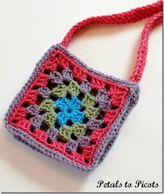 Granny Square Purse Crochet Pattern - Petals to Picots