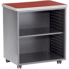 OFM Mobile Utility Table Cart with Shelf, 28 inch x 20 inch, Red