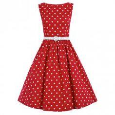 'Audrey' Red Polka Dot Swing Dress