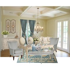 French Country Dining Room by mbtherrell on Polyvore featuring interior, interiors, interior design, home, home decor, interior decorating, Bernardaud, Neiman Marcus, Nearly Natural and Lexington