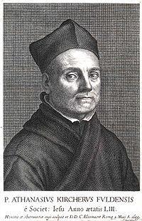 """Athanasius Kircher S.J. ( 1601/2-1680) fue sacerdote jesuita, políglota, erudito, estudioso orientalista, de espíritu enciclopédico y uno de los científicos más importantes de la época barroca. Sus trabajos de investigación sobre volcanes, dieron lugar a la obra """"El mundo subterráneo"""" (1664 - 1665). Además del vulcanismo, investigó el magnetismo, la luz y los fenómenos a ellos asociados (la piedra imán, el ojo, la óptica, las lentes, los espejos, la refracción y la linterna mágica. Inventó…"""