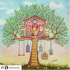Instagram media desenhoscolorir - Casinha na árvore fofíssima da @driiveras ・・・#secretgarden #desenhoscolorir #jardimsecreto  #florestaencantada #oceanoperdido