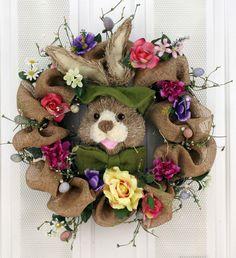 Bunny Rabbit and Burlap Decorative Door Wreath (24 inch)