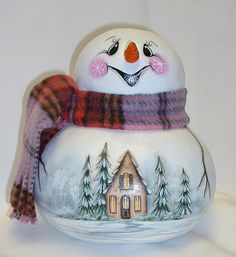 Snowman Gourd with Winter Cottage Scene  Hand by FromGramsHouse