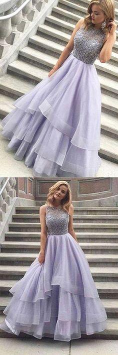 A-line Scoop Floor-length Long Prom Dress Evening Dress #shortpromdresses #promdresseslong