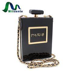 Milisente Marque Femmes Bandoulière Sacs Parfum Bouteille Épaule Chaîne Sac Noir Paris Acrylique Bourse D'embrayage dans Sacs à bandoulière de Bagages et Sacs sur AliExpress.com | Alibaba Group
