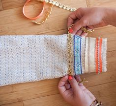 Great tip...glue first, then sew. Glue makes project more manageable than straight pinning everything. DIY-Ribbon-Trim-Boucle-Jacket-7