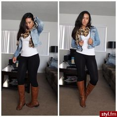Fall fashion. Simple black leggings, cheetah print scarf, white shirt, Jean jacket and brown boots