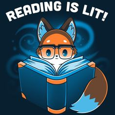 Let's get LIT(erary)! 📚 Get the blue Reading Is Lit t-shirt only at TeeTurtle! Cute Animal Drawings Kawaii, Cute Cartoon Drawings, Kawaii Drawings, Cartoon Eyes, Funny Animals, Cute Animals, Cute Animal Quotes, Desenhos Gravity Falls, Fox Art
