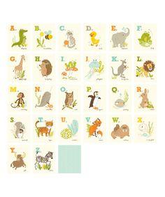 Look at this #zulilyfind! Alligator-to-Zebra Alphabet Print Set by Sea Urchin Studio #zulilyfinds
