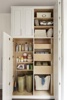 Utility closets are most commonly used to house your practical day-to-day appliances and supplies. Featured in a pre-finished maple and white painted oak, this layout is a perfect blend of style and function. Laundry Closet Organization, Cleaning Closet, Laundry Storage, Closet Storage, Locker Storage, Laundry Area, Organization Ideas, Make A Closet, Room Closet