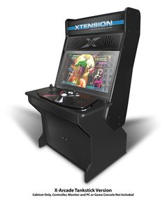 Japanese Style Sit Down Xtension Arcade Cabinet for the X-Arcade Tankstick and arcade Fight Sticks. Features a back lit marquee and supports up to a 32' flat screen monitor. This Xtension Gaming Series arcade cabinet is sold exclusively at RecRoomMasters!