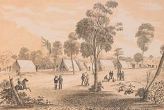 Great Meeting of Gold Diggers - Mt Alexander Goldfields near Bendigo - December 1851 Gone Days, Australian Painting, The Settlers, Victoria Australia, Historical Pictures, Family History, The Past, December, Paintings