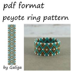 Peyote ring pattern for the use of Miyuki Delica size 11/0 seed beads. PDF file includes: 1. Large picture of the pattern 2. Bead Legend with the color, name, number and quantity of beads. 3. Bead graph - color coded and numbered graph of the pattern. 4. Word chart of the pattern.