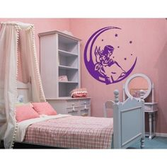 Style and Apply Angel On The Moon Wall Decal (16in x 16in )