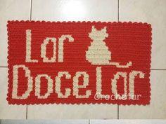 Tapete Lar Doce Lar Gato (Fio conduzido / Tapestry) crochê - Professora ...