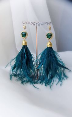 Your place to buy and sell all things handmade Feather Jewelry, Feather Earrings, Tassel Earrings, Etsy Jewelry, Boho Jewelry, Green Earrings, Etsy Crafts, Etsy Handmade, Handmade Gifts
