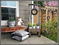 Hello and Happy Spring everyone!!!!!  I finally took some pics of our Easter Porch today.  It's getting late as I am typing this post, so I will keep it short…