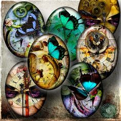 Steampunk Dream - Digital Collage Sheet CG-563 - 30x40mm ovals - for Scrapbooking, Resin and Glass Pendants. $4.20,  CobraGraphics via Etsy.