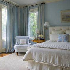 Most Design Ideas Blue Master Bedroom Colors Pictures, And Inspiration – Modern House Blue And Cream Bedroom, Blue Master Bedroom, Blue Bedroom Decor, Serene Bedroom, Bedroom Colors, Beautiful Bedrooms, Home Bedroom, Bedroom Ideas, Dream Bedroom