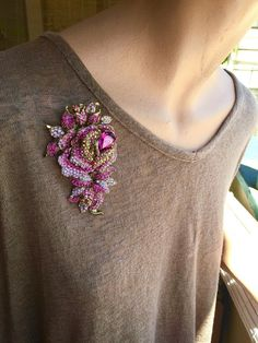 Crystal Rhinestone Brooch Pink  Rose  HUGE 4 1/4 x 2 1/2 inches