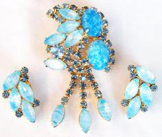 Juliana Art Glass Rhinestone Brooch Earring Set Demi Parure. $145.00, via Etsy.