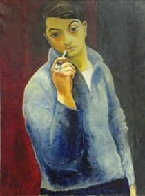 Self portrait with a pipe - Moise Kisling