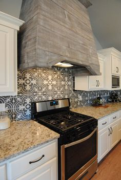 Kitchen By Ventura Homes In Lubbock, Texas | Black And White Backsplash  Tile | Stained