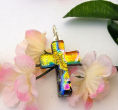 CIJ SALE Fused Glass Dichroic Cross Pendant by Mtbaldyglassworks, $18.86