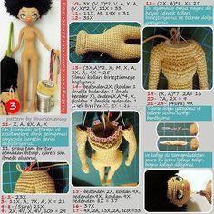How To Crochet an Amigurumi Rabbit - Crochet Ideas Amigurumi Patterns, Amigurumi Doll, Doll Patterns, Knitted Dolls, Crochet Dolls, Crochet Hats, Freeform Crochet, Diy Crochet, Doll Crafts