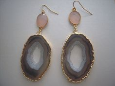 Big Beautiful Agate Slice Geode & Pink Chalcedony Vermeil Bezel Set Earrings