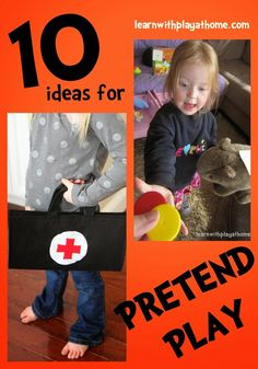 10 ideas for Pretend Play setups. Lots of creative ideas for props and additions to make imaginative play even more fun.